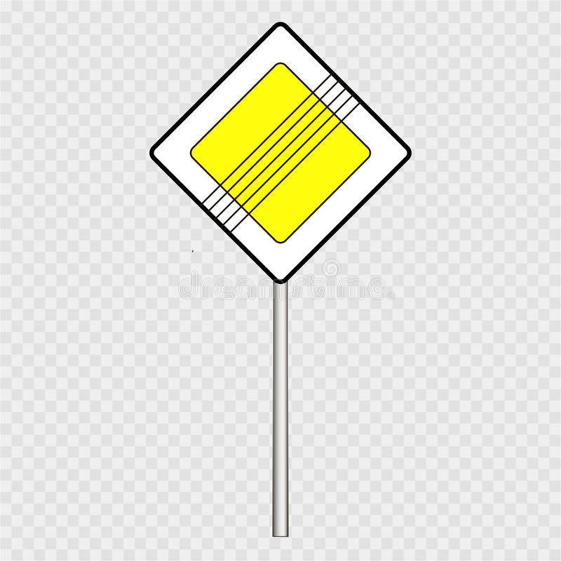 Gata vägmärke, huvudvägentecken på en grå bakgrund vektor illustrationer