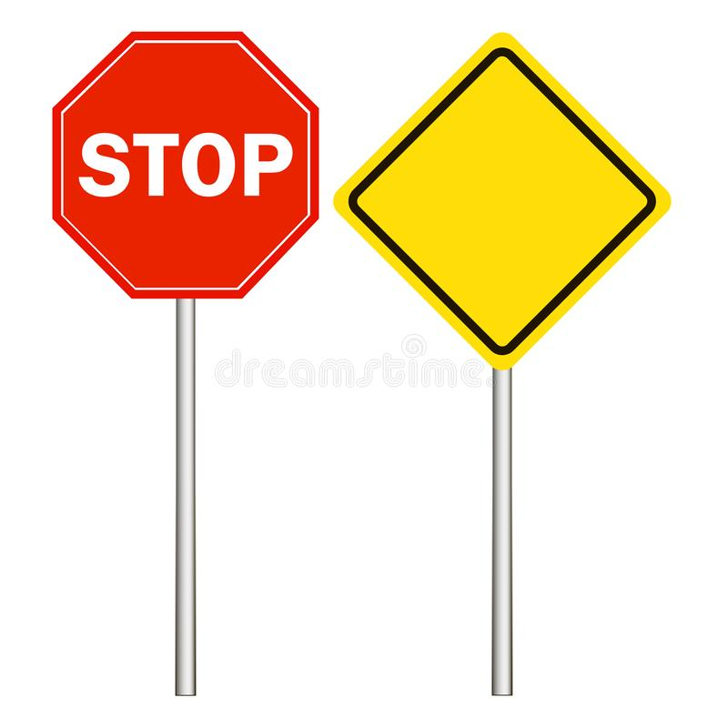 Gata vägmärken, huvudvägentecken, stopptecken på en vit bakgrund royaltyfri illustrationer