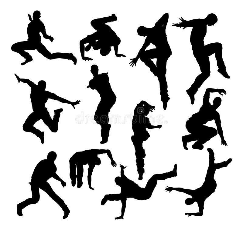 Gatadansdansare Silhouettes stock illustrationer