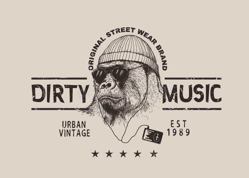 Gataetikett för t-skjorta design med gorillan royaltyfri illustrationer