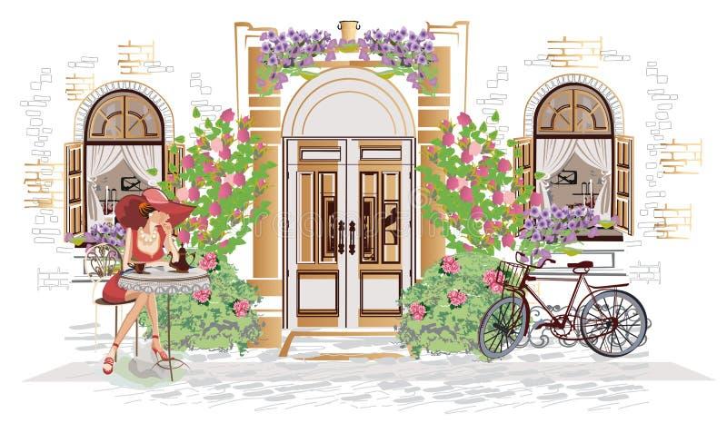 Gatakafé med en modeflicka stock illustrationer