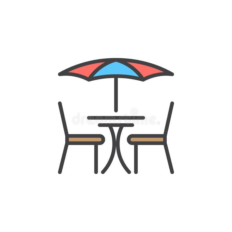 Gatakafélinje symbol, fyllt översiktsvektortecken, linjär färgrik pictogram som isoleras på vit royaltyfri illustrationer