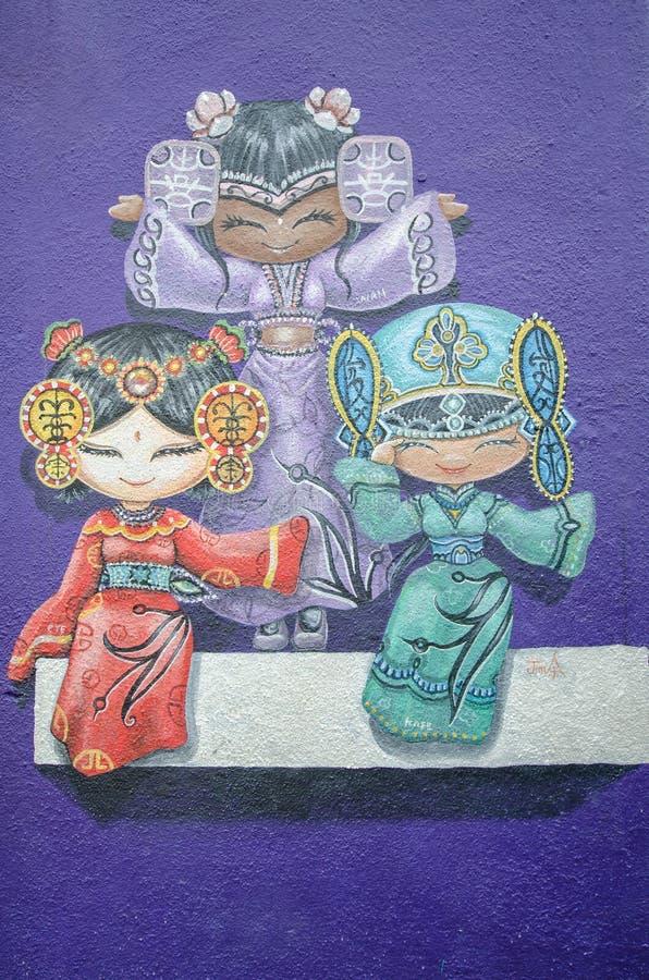Gatakonst för tre kinesisk dockor i Georgetown, Penang royaltyfri bild