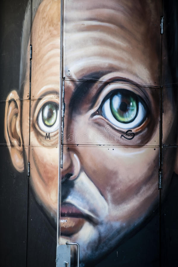 Gatakonst i Lissabon Portugal arkivfoton