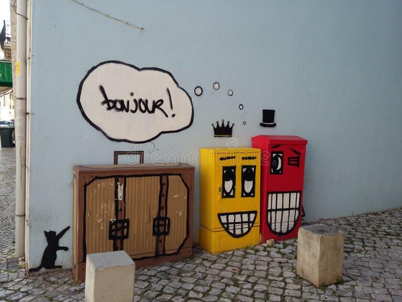 Gatakonst Lissabon royaltyfri bild