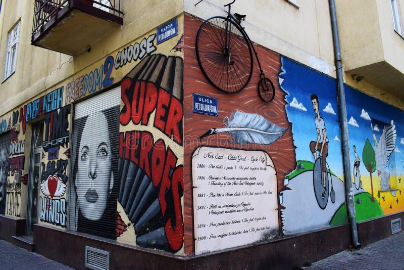 Gatakonst, Novi Sad, Serbien arkivbild
