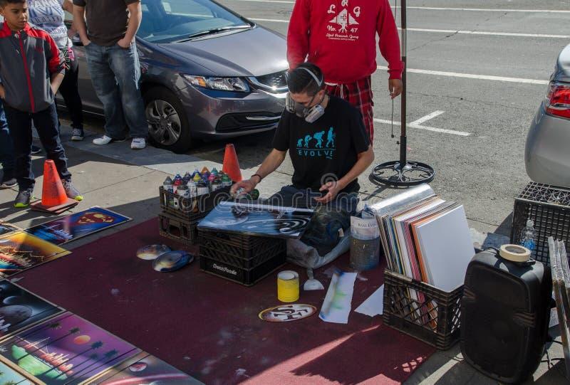 gatakonstnär, San Francisco, USA fotografering för bildbyråer