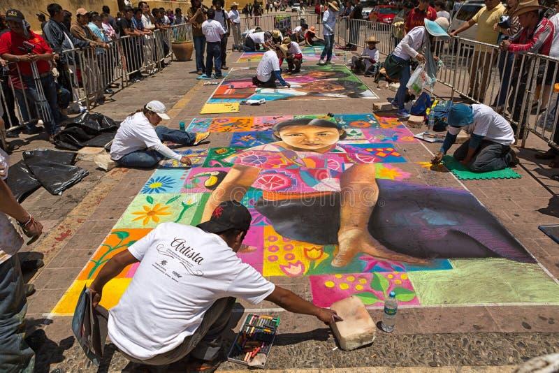 Gatakonstnärer i San Cristobal de Las Casas Mexico arkivfoto