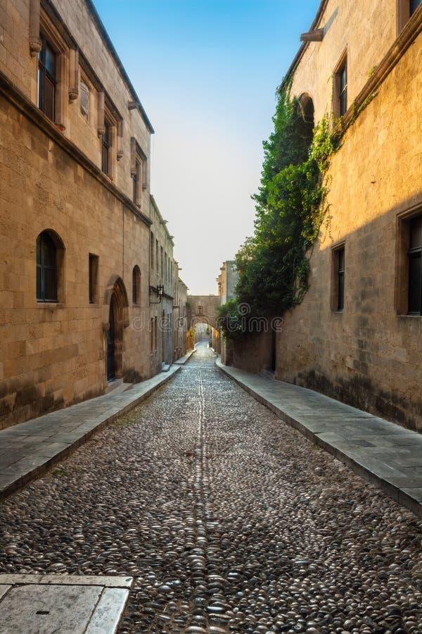 Gatakorsfararemorgon Rhodes ö Grekland arkivfoton