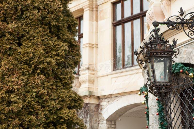 Gatalampa från den Peles slotten från Sinaia, Rumänien royaltyfri bild