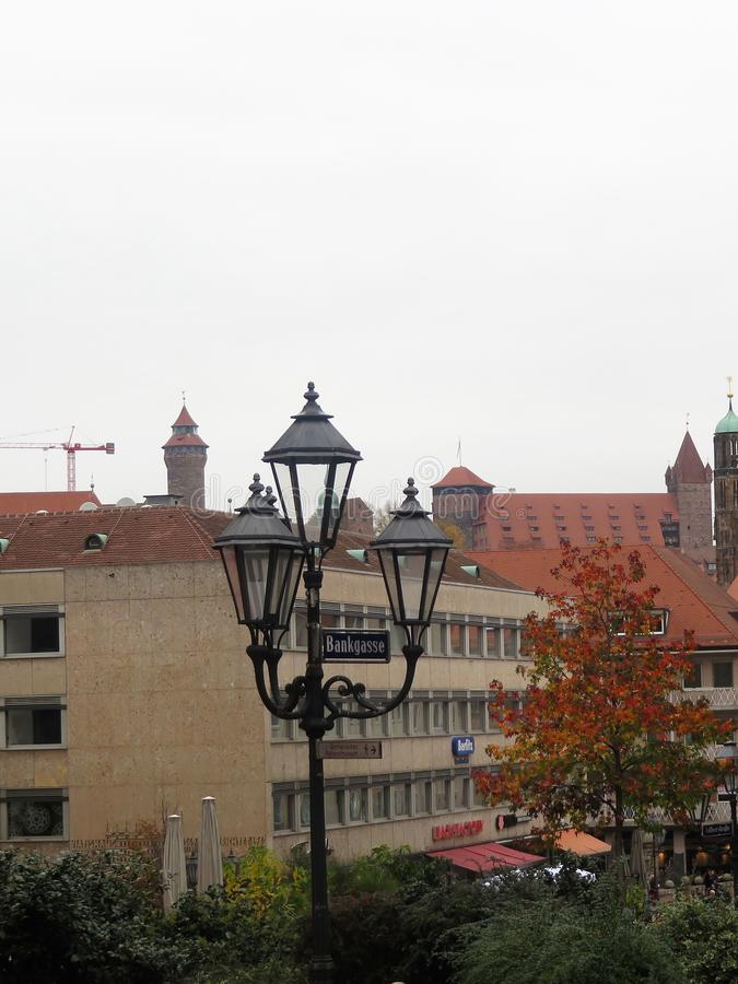Gatalampa i Nuremberg arkivbild