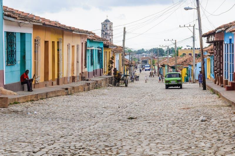 Gatalandskap i Trinidad, Kuba arkivbilder