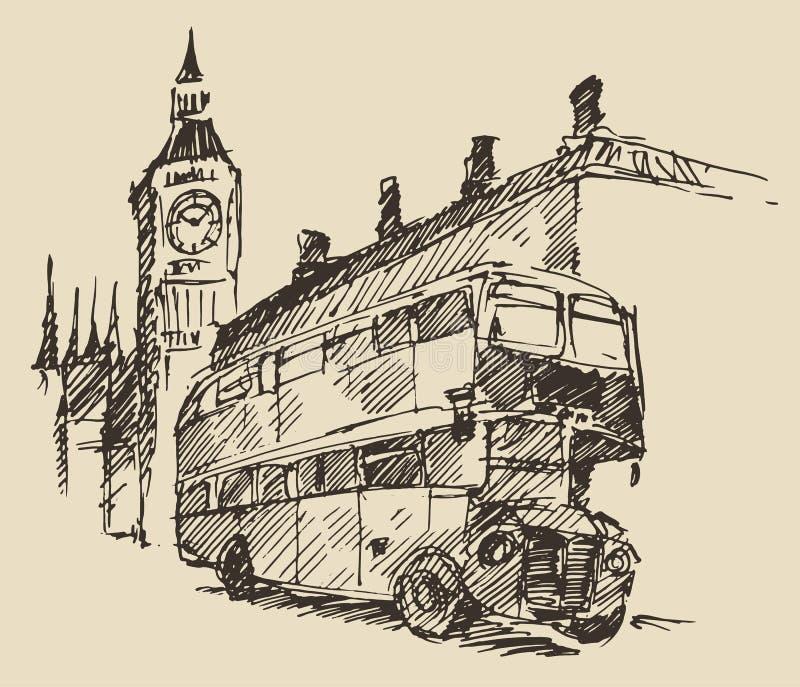 GataLondon England buss stora Ben Vintage Sketch vektor illustrationer