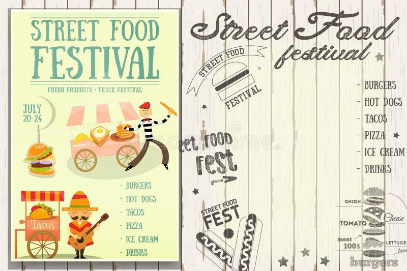 Gatamatfestival royaltyfri illustrationer