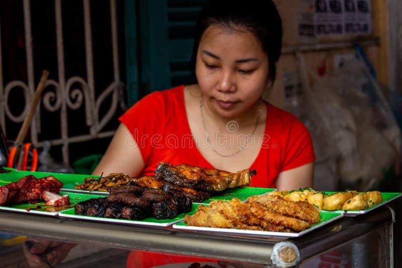 Gatamatstall Hanoi Asien arkivfoto
