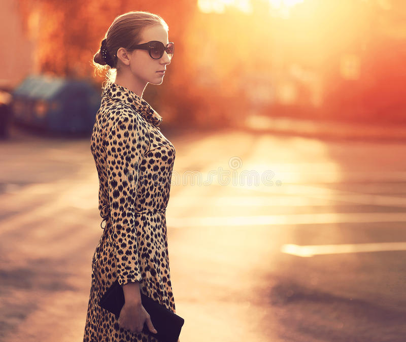 Gatamode, stilfull kvinna i en klänning med leopardtrycket royaltyfria foton