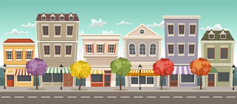 Gatan av en stad med shoppar royaltyfri illustrationer