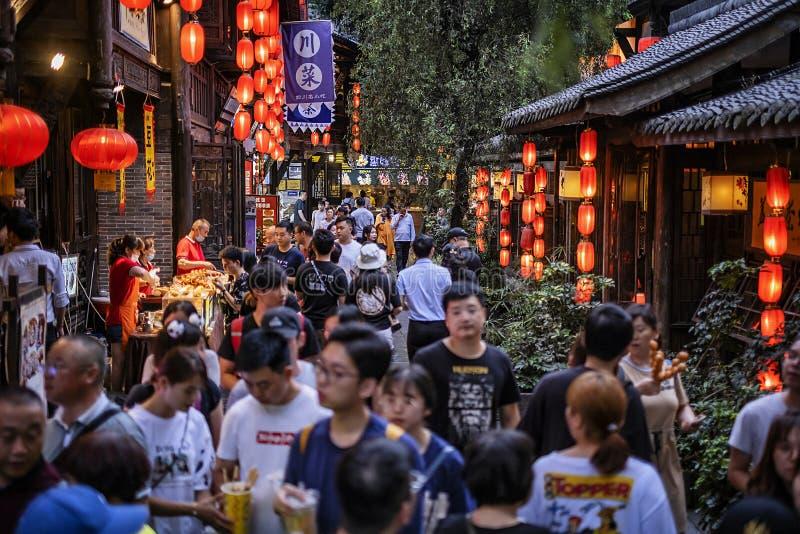 Gatan av Jinli den forntida staden, Chengdu arkivbilder