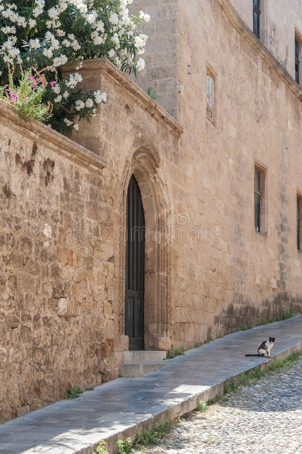 Gatan av riddarna Vara slö katten Rhodes gammal stad, ö av Rhodes, Grekland, Europa royaltyfria bilder