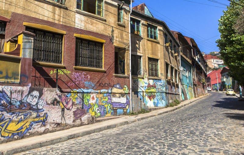 Gatan av Valparaiso, Chile royaltyfri fotografi