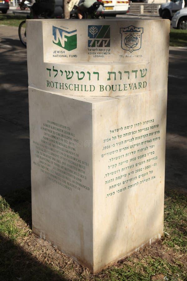 Gatan för det Rothschild boulevardminnet undertecknar in Tel Aviv, Israel , S royaltyfria bilder