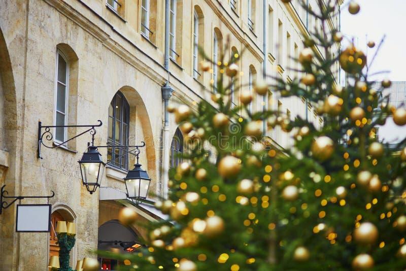 Gatan i Paris dekorerade med jul royaltyfri foto