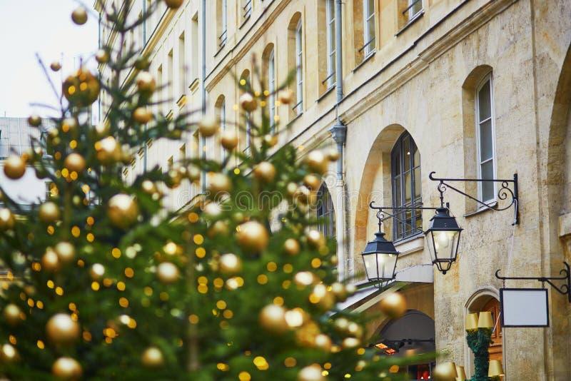 Gatan i Paris dekorerade med jul royaltyfria foton