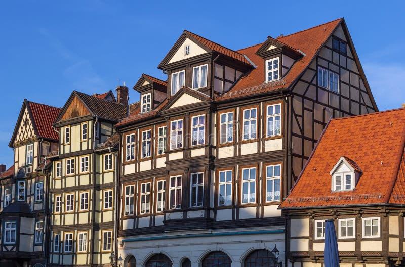 Gatan med korsvirkes- hus i Quedlinburg, Tyskland royaltyfri bild