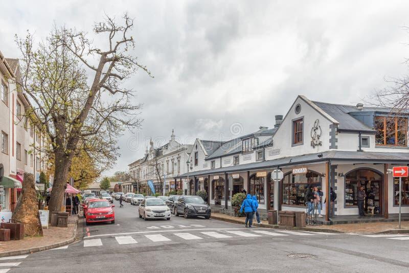 Gataplats i den Plein gatan i Stellenbosch royaltyfria bilder