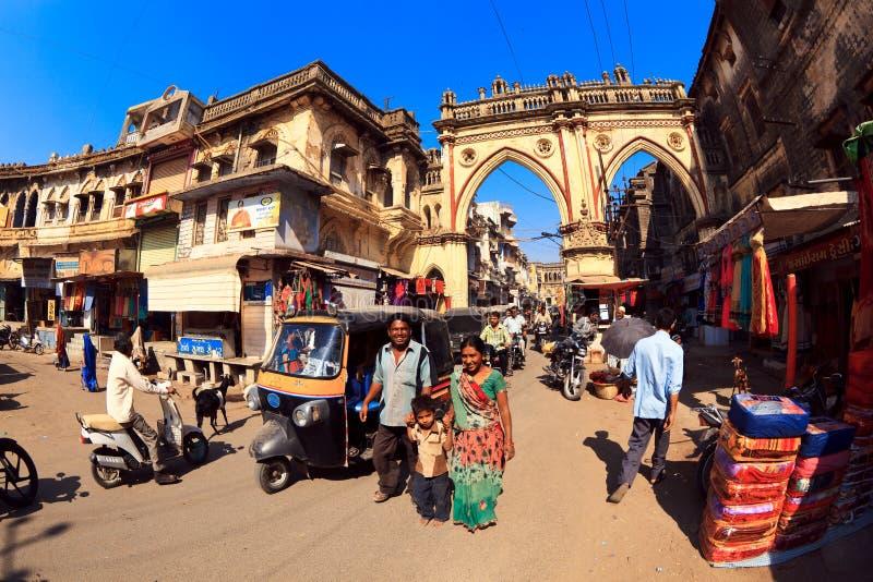 Gataplats i Junagadh arkivbild