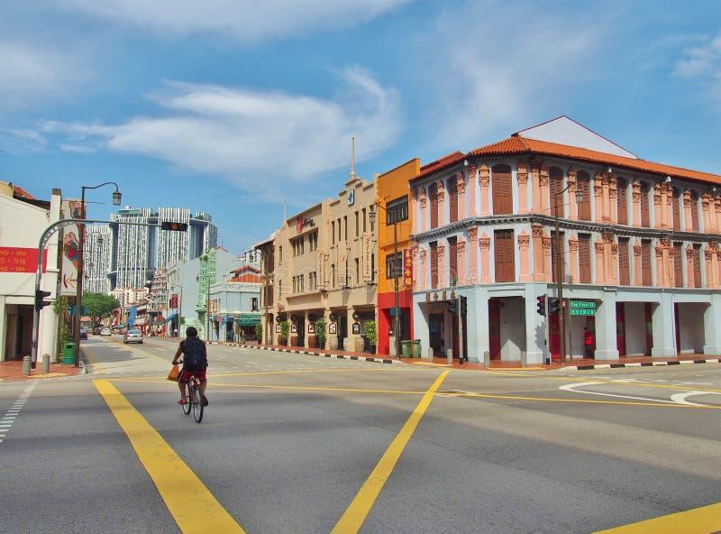 Gataplats i kineskvarteret, Singapore arkivfoto