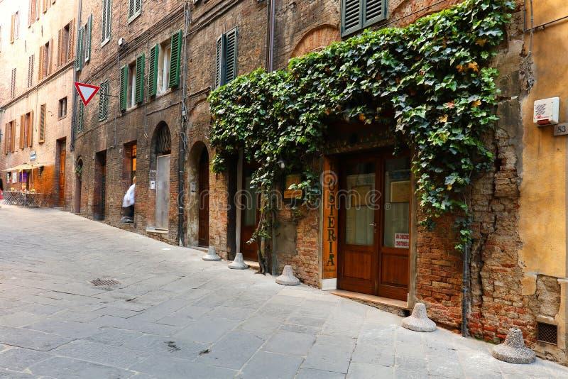 Gataplats i Siena, Italien royaltyfria foton