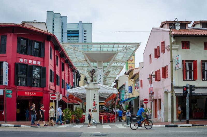 Gataplats i Singapore kineskvarter fotografering för bildbyråer