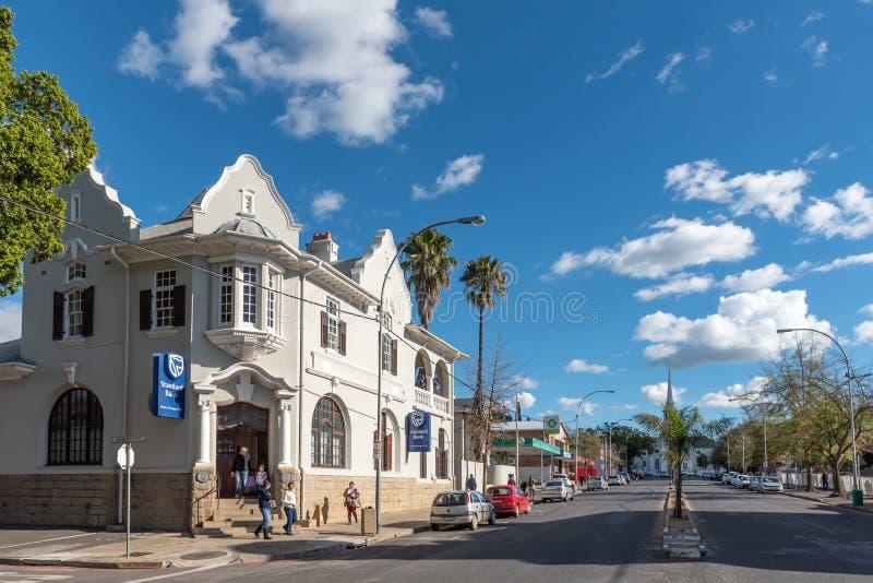 Gataplats, med affärer, folk och medel, i Wellingto royaltyfria bilder