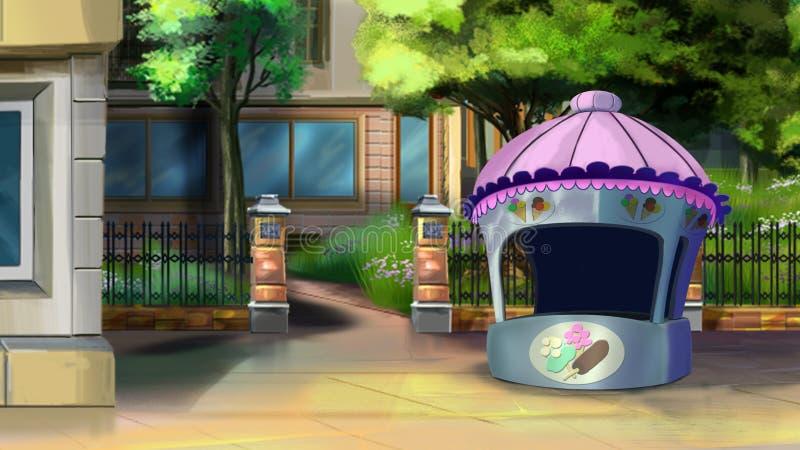 Gataplats med den lilla stallen i sommar royaltyfri illustrationer