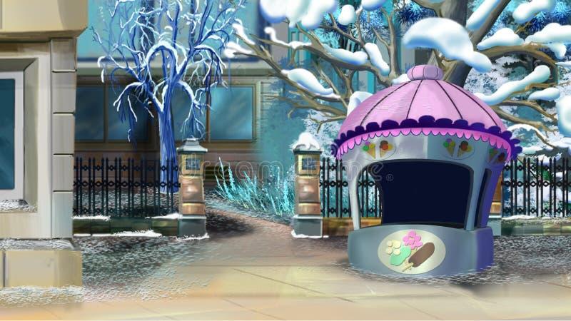 Gataplats med den lilla stallen i vinter stock illustrationer