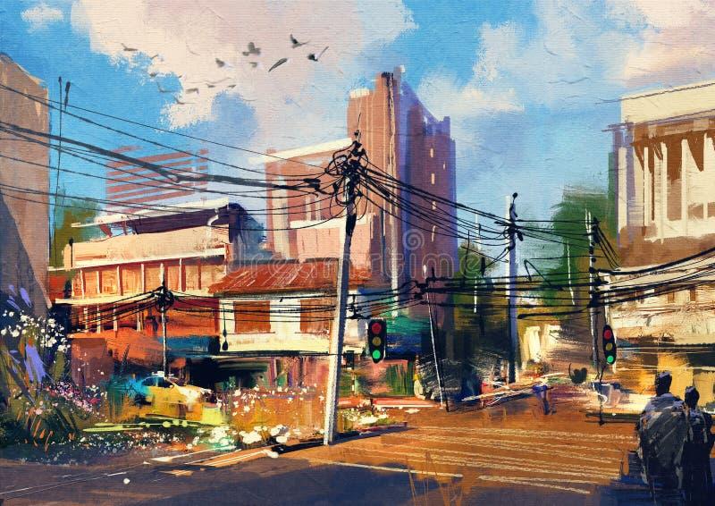 Gataplats med stads- trafik på en härlig solig dag vektor illustrationer