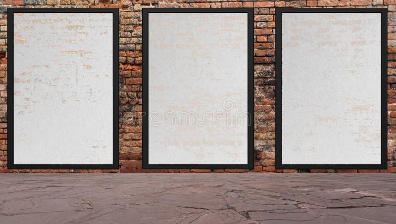 Gataplats med väggen och affischtavlor för röd tegelsten vektor illustrationer