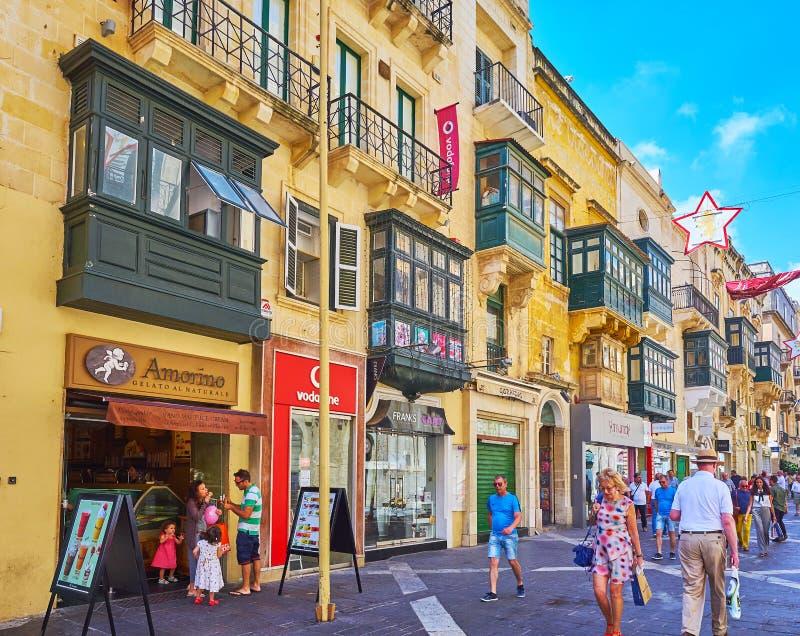 Gataplats, Valletta, Malta arkivfoton