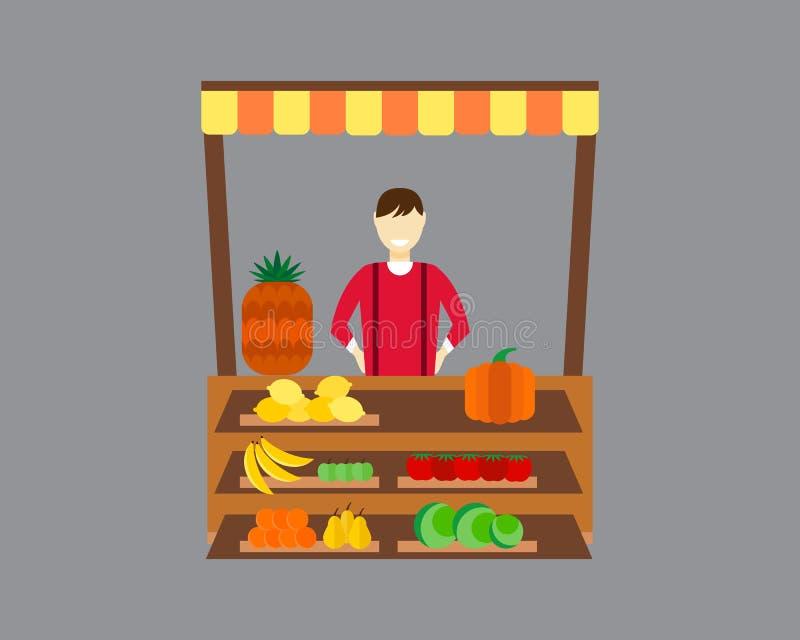 Gatasäljare med illustrationen för stallfrukt- och grönsakvektor royaltyfri illustrationer