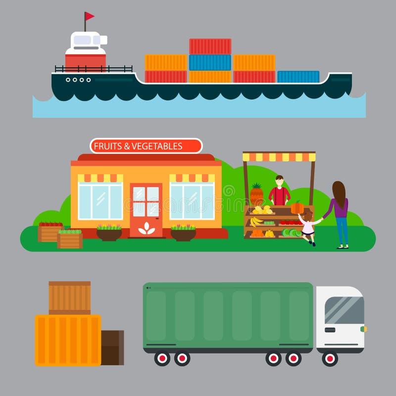 Gatasäljare med stallfrukter och illustrationen för vektor för trans. för skepplasthav vektor illustrationer
