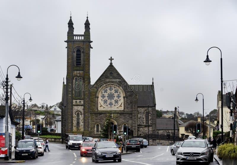 Gatasikt av den Howth församlingkyrkan, Dublin arkivbilder