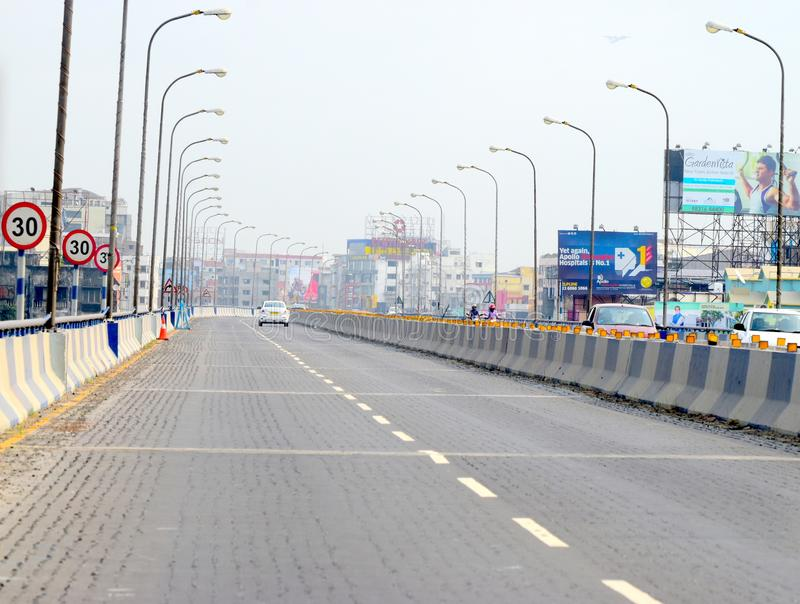 Gatasikt av Kolkata, oerhört Indien fotografi arkivfoton