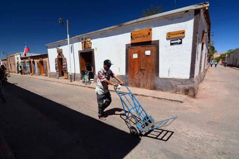 Gatasikt av San Pedro de Atacama chile arkivfoto