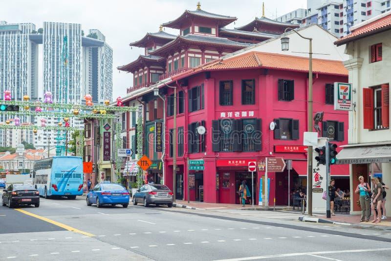 Gatasikt av Singapore arkivfoton