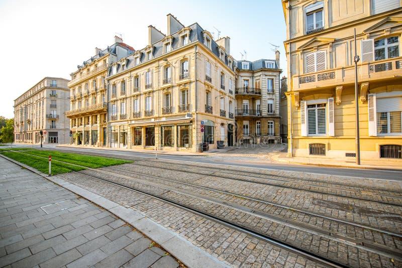 Gatasikt i den Reims staden, Frankrike arkivfoto