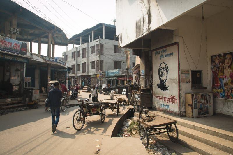 Gatasikt i Khulna, Bangladesh arkivbild