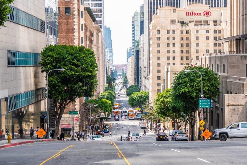 Gatasikt i i stadens centrum Los Angeles - Kalifornien, USA - mars 18, 2019 arkivbilder