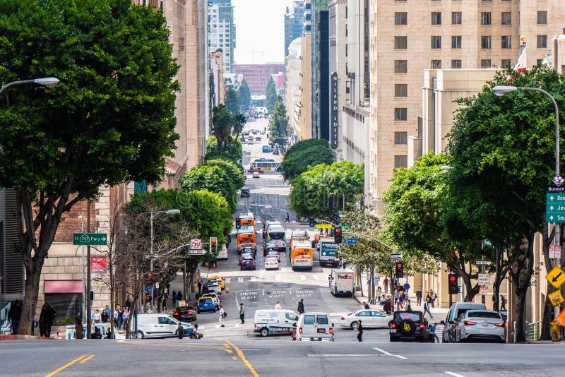 Gatasikt i i stadens centrum Los Angeles - Kalifornien, USA - mars 18, 2019 royaltyfri foto
