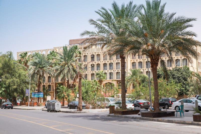 Gatasikt med palmträd av Aqaba royaltyfri bild